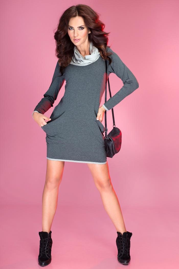 Dámske Riflové šaty so šatkou  Veľkosť S Farba Modrá 6acfca2e341