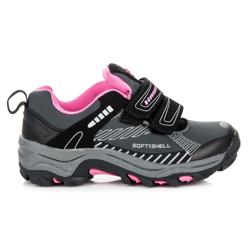 8fac8837a4c1 Detské šedo-ružové softshellové športové tenisky