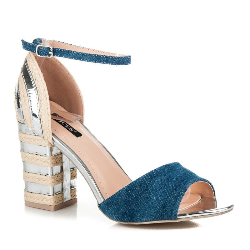30a59486f992e Džínsové strieborné sandále na podpätku