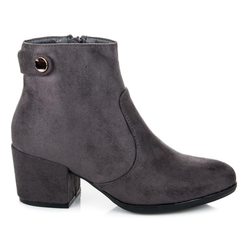 d6e5b83072fa Elegantné šedé členkové topánky na stĺpiku