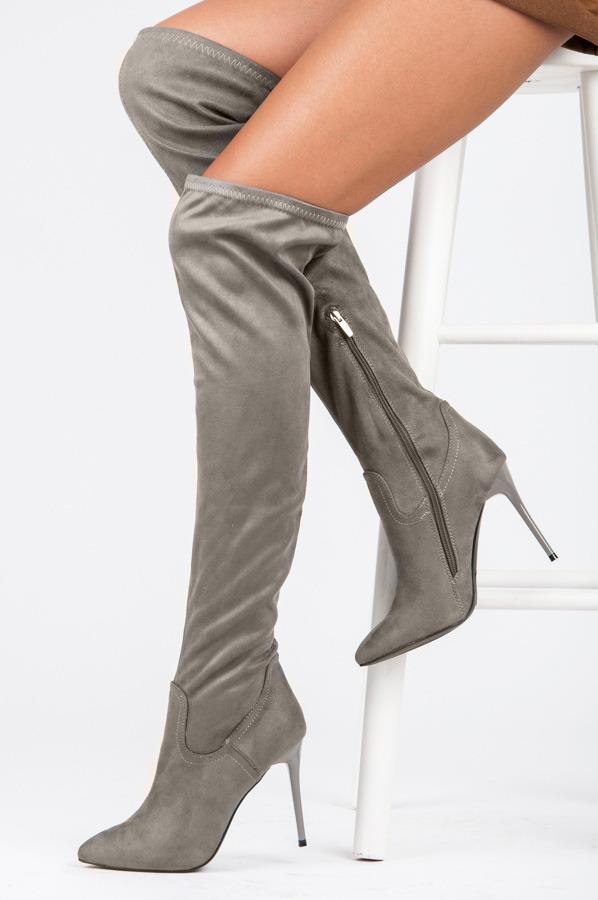 ed32ef1f58 Elegantné vysoké šedé semišové čižmy na ihličkovom podpätku