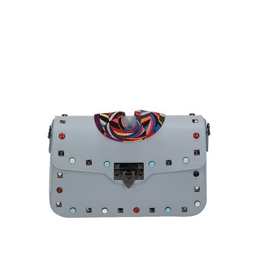 Kožená šedo-modrá malá kufríková kabelka s farebnými cvočkami 9e68ece6126
