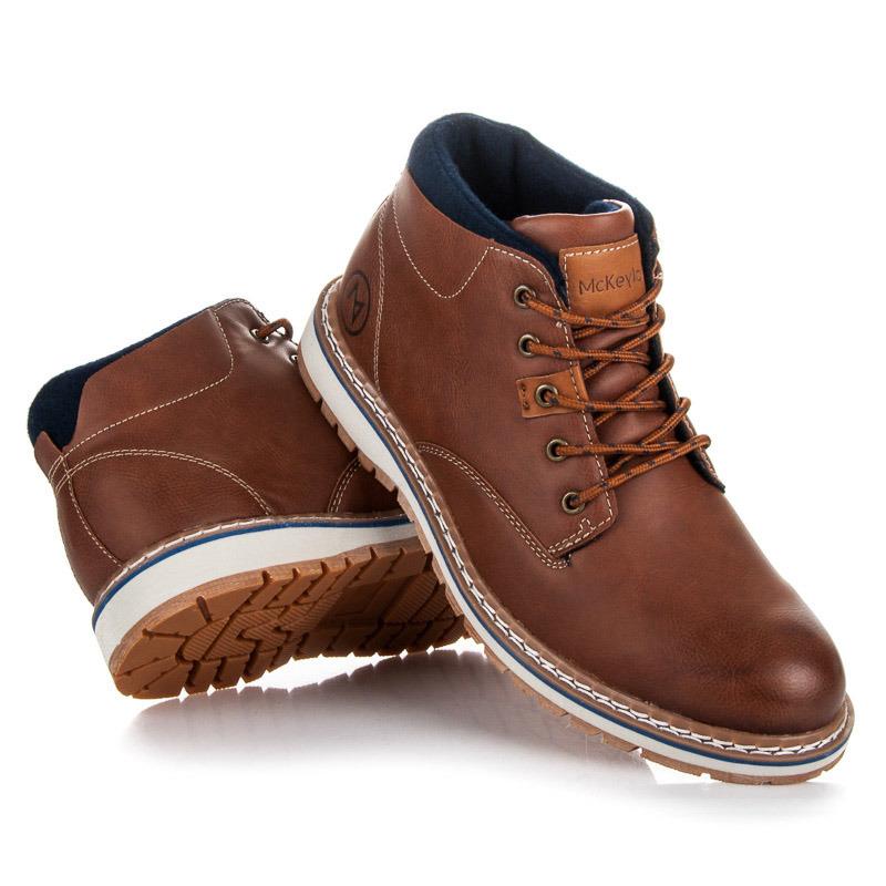 Luxusné hnedé pánske členkové topánky