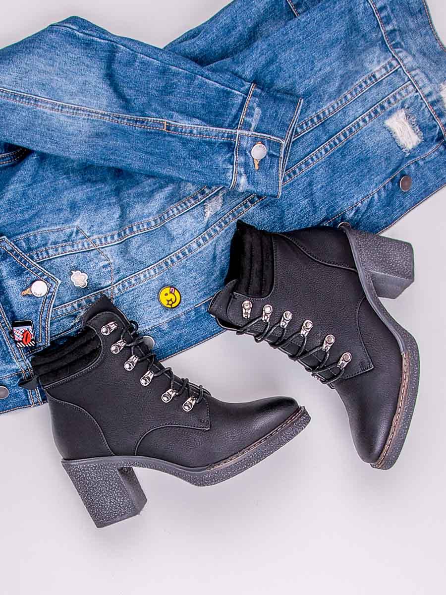 130a40234df5 Módne šnurovacie čierne členkové topánky na podpätku