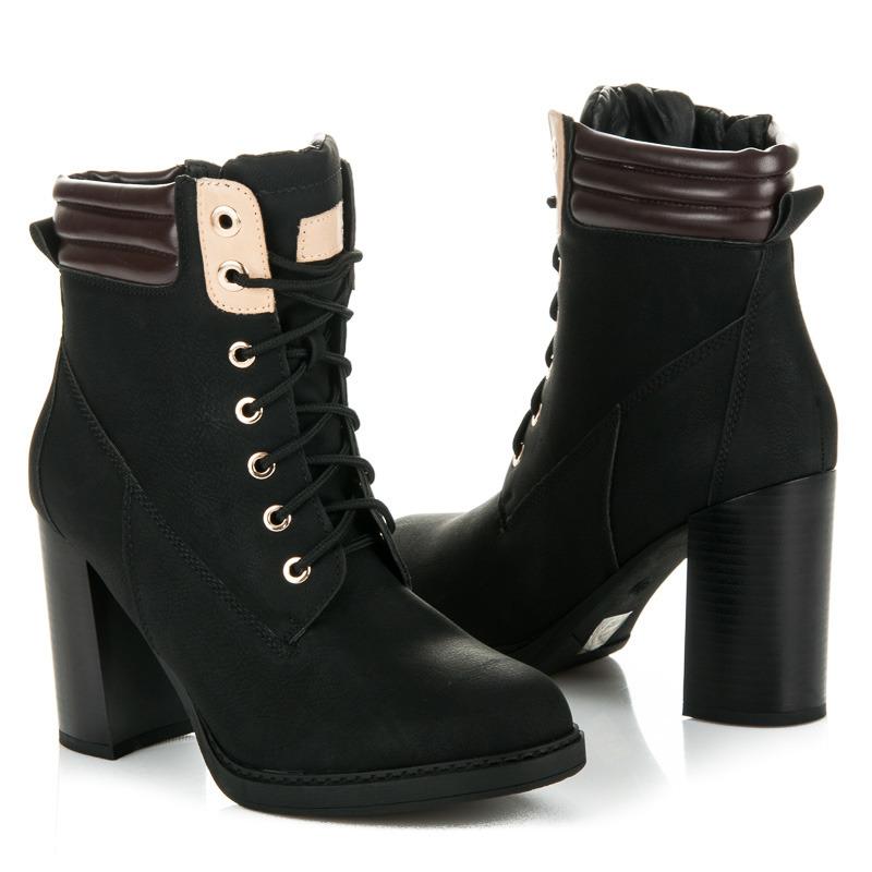 74bfad0ba9cd Originálne čierne členkové topánky na podpätku