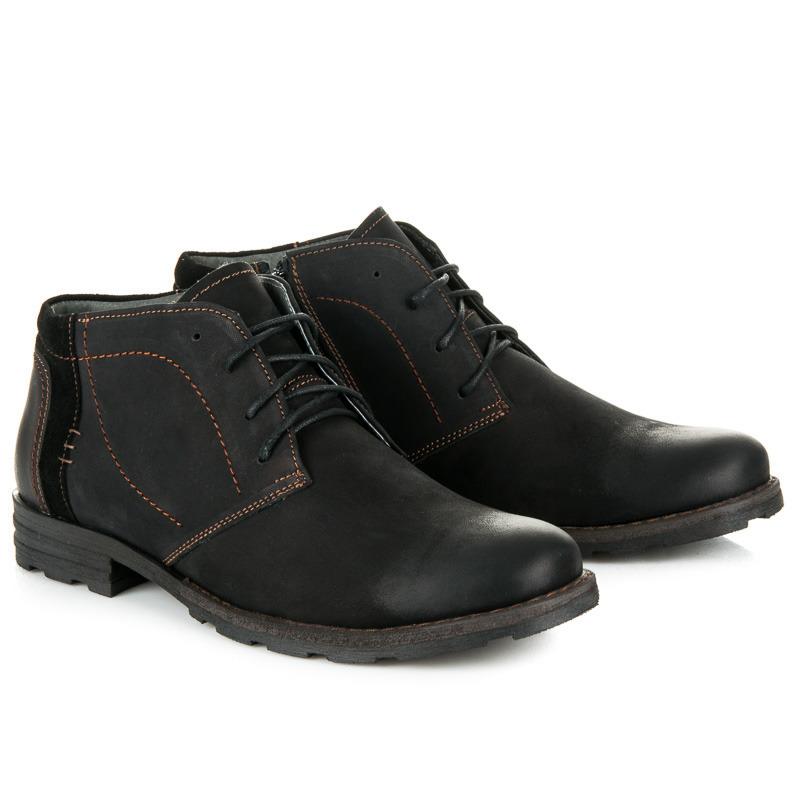 7a2038b2e1 Pánske čierne kožené zateplené členkové topánky