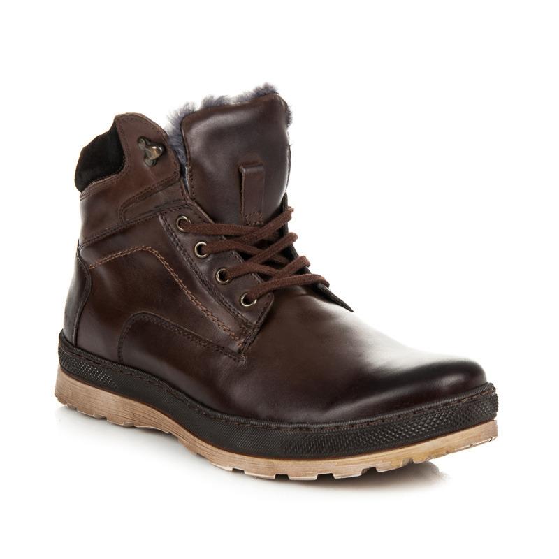 45daed601daf Pánske zateplené hnedé kožené členkové topánky