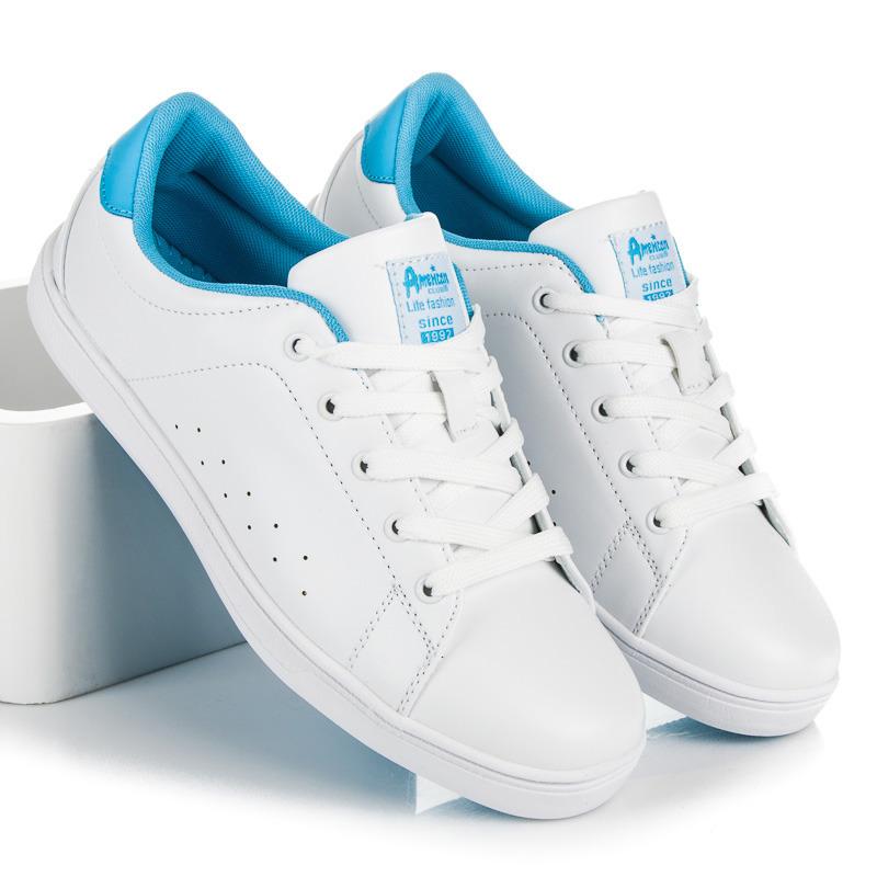 Pohodlné biele dámske tenisky na šnurovanie b8ada29729