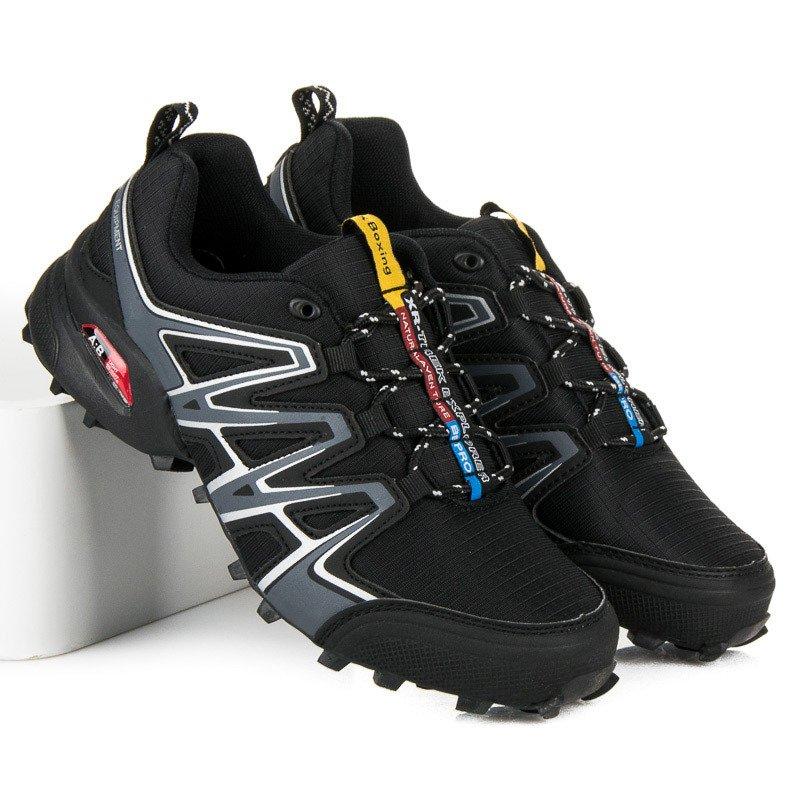 Pohodlné čierne pánske trekové topánky 9f6c7765473