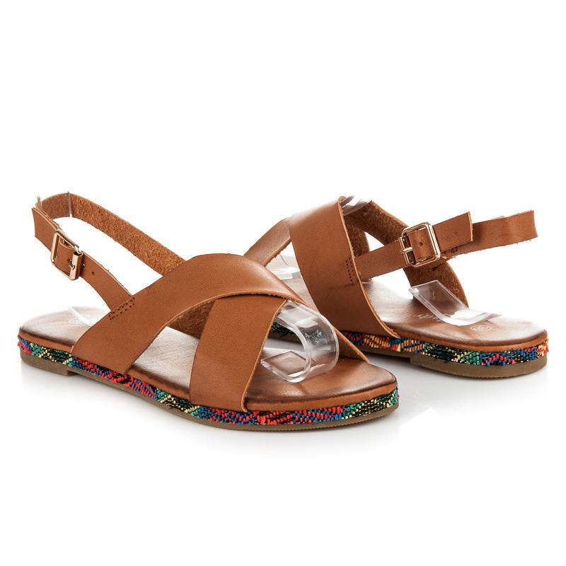 d8a1bb0f459f Pohodlné hnedé páskové sandále