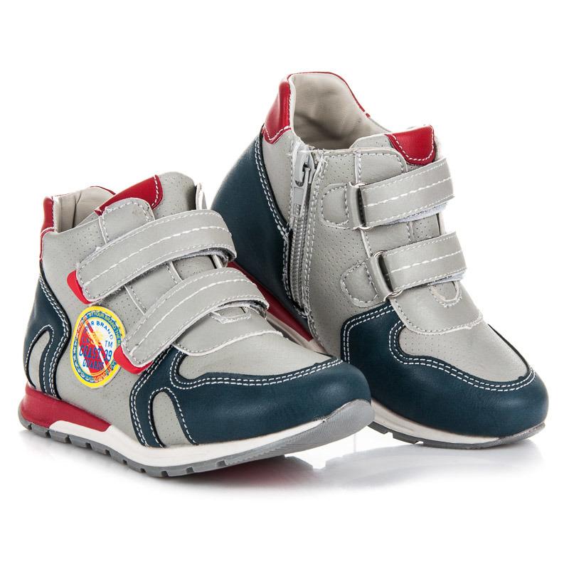 6c476331ab541 Pohodlné šedo-modré detské členkové topánky na suchý zips | AMIATEX.sk