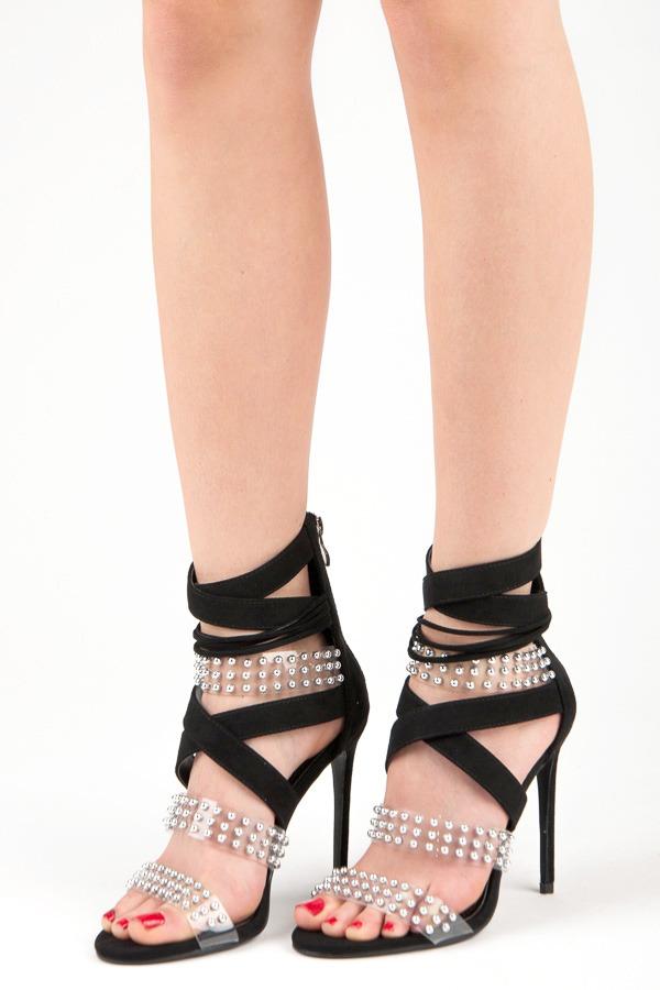 29fe015dd7929 Sexy čierne sandále na vysokej ihle s kamienkami