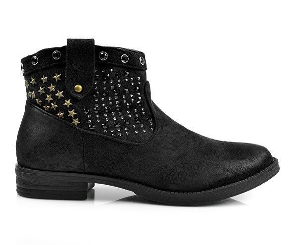 ead2012ff2 Skvelé čierne členkové topánky s hviezdičkami