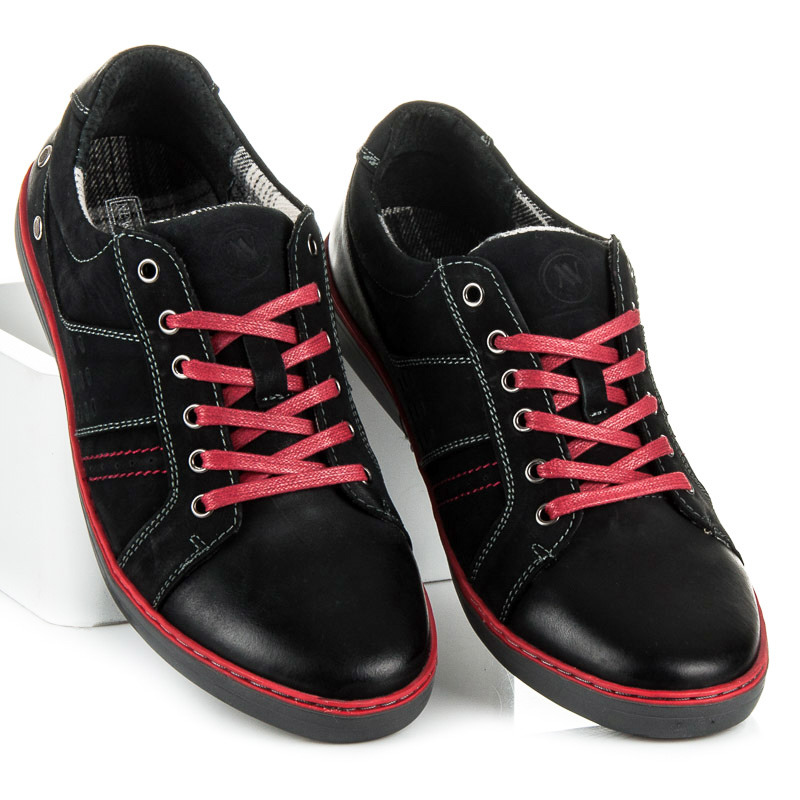 Štýlové čierne pánske tenisky s viazaním na červené šnúrky cbaeaa04ddc