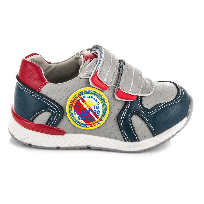Štýlové šedé detské športové botasky na suchý zips 5f8d8bcf5a5
