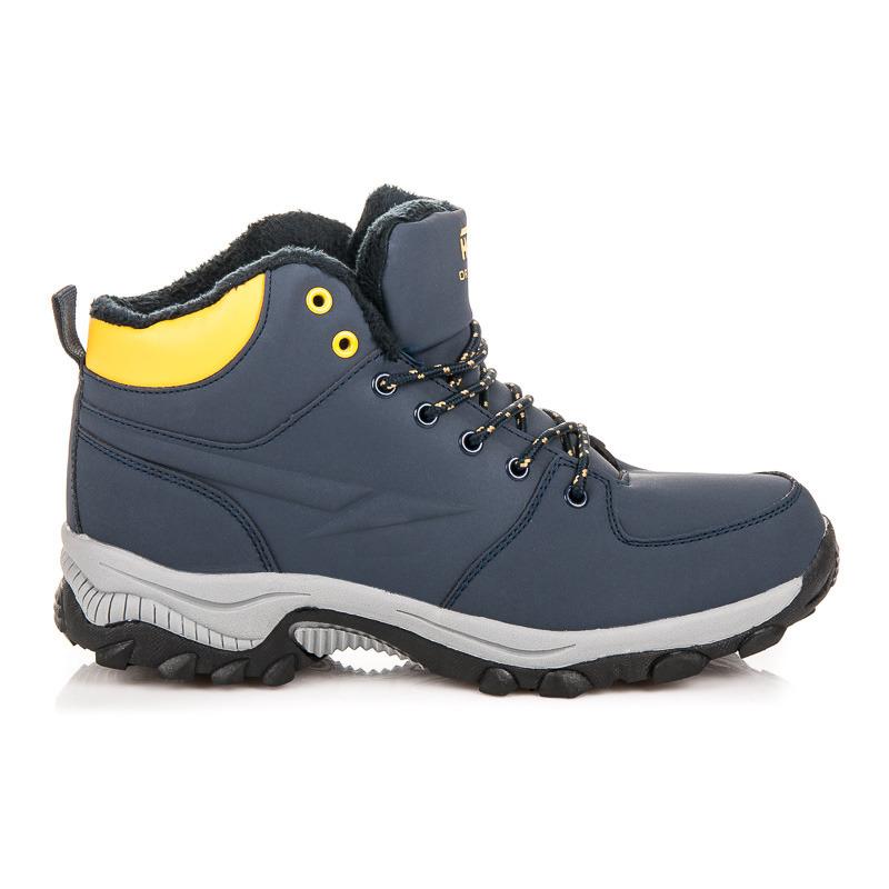 Zateplené modré pánske trekingové topánky  034ba52c78e