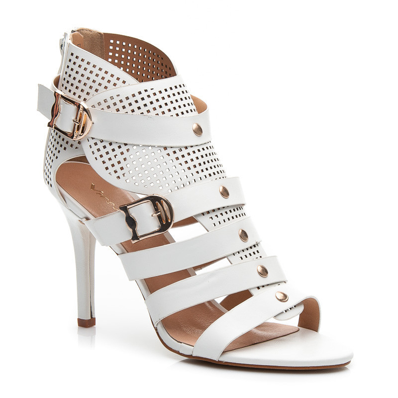 5356ce788612 Ažurové biele rímske dámske sandále