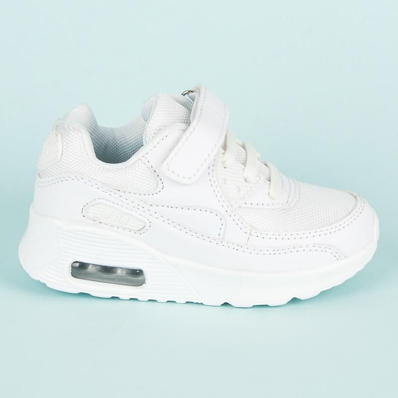 1026aab3d6 Biele detské športové botasky na suchý zips a šnurovanie