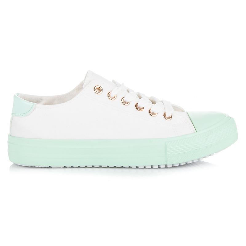 Biele tenisky so zelenou podrážkou b58d8e9cbb4