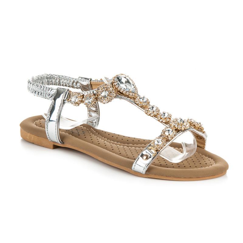 a83dcc9b35e3 Blyštivé stříbné sandále s kamienkami