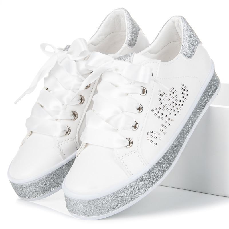 90909f09d Brokátové biele tenisky so stužkou a kamienkami | AMIATEX.sk