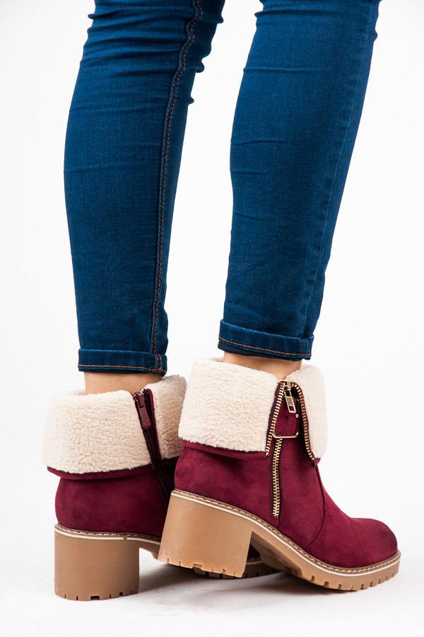 Červené členkové topánky na podpätku s kožušinkou  e9e1facf735