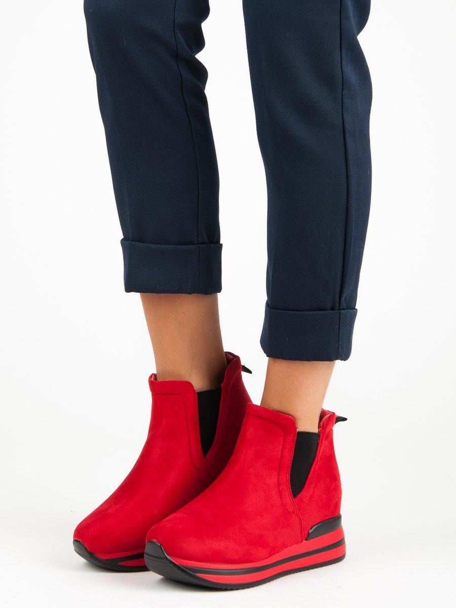 Červené dámske topánky na platforme