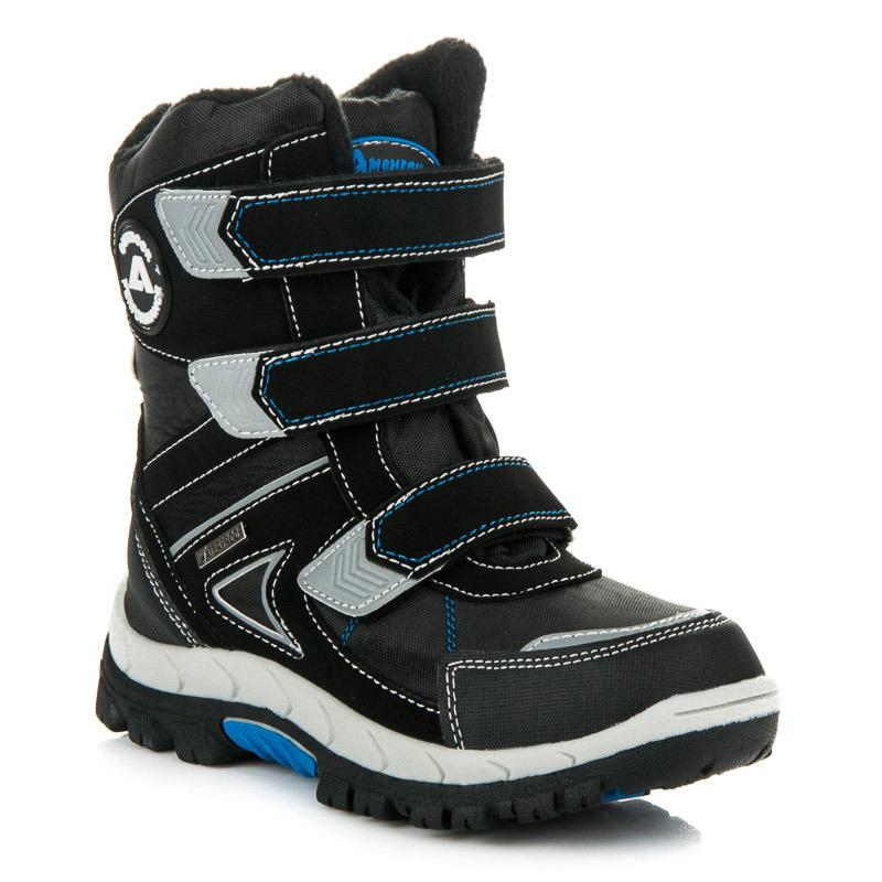 aff31e132f Chlapčenské čierne zimné čižmy na suchý zips