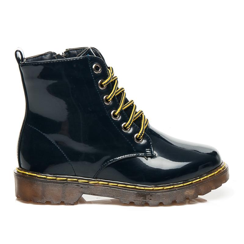 8332a1bfab09 Dámske lakované modré členkové topánky na šnurovanie