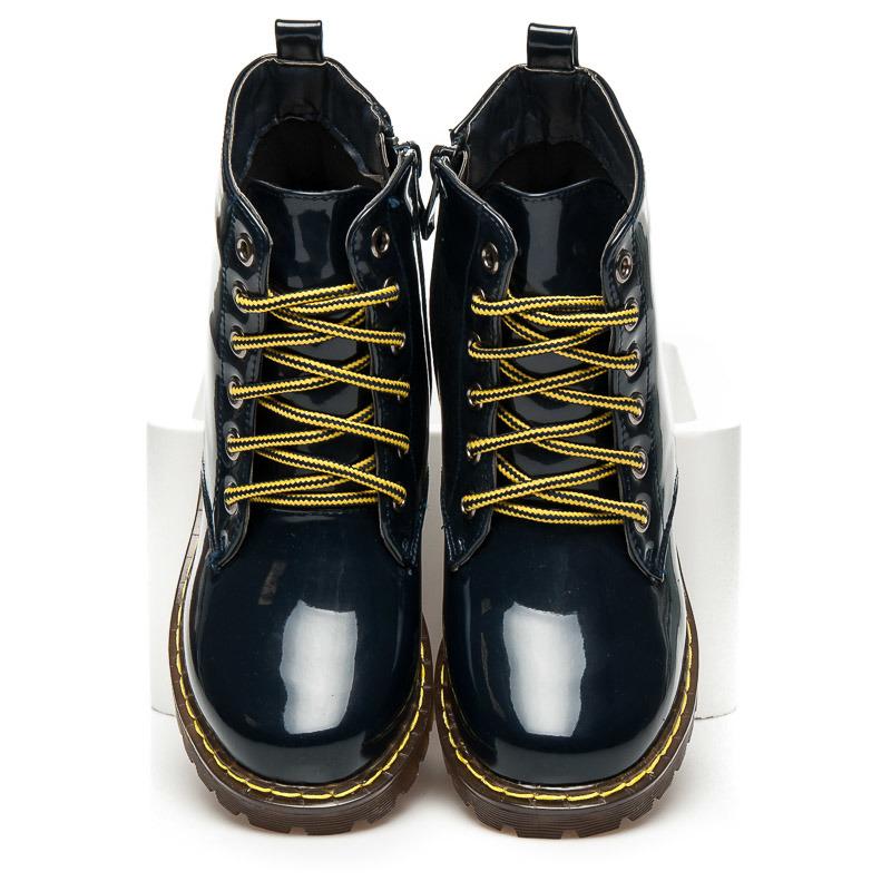 8ad7097f8a Dámske lakované modré členkové topánky na šnurovanie