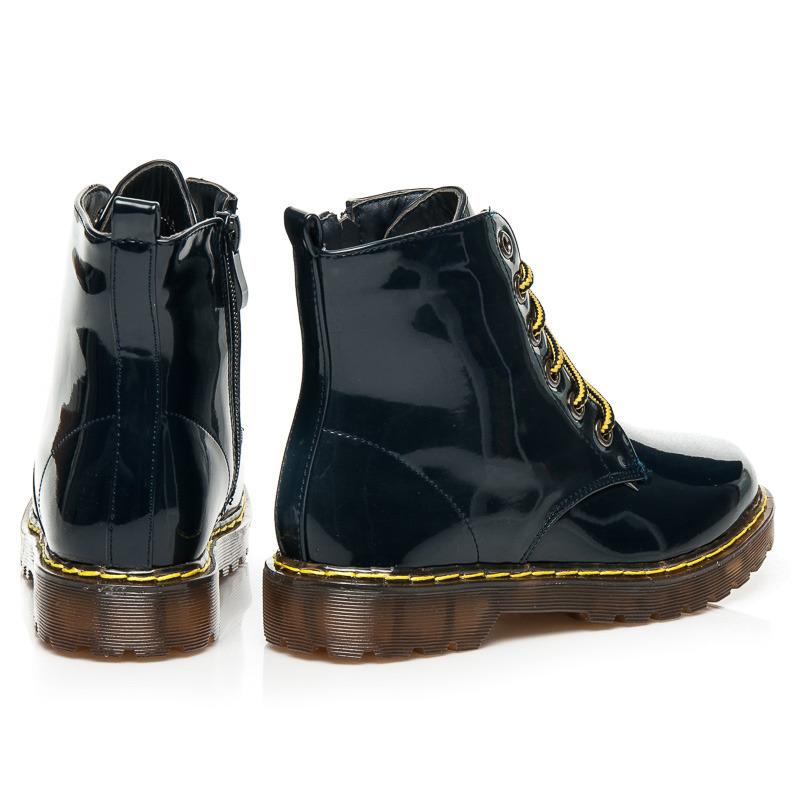 9993824534c7f Dámske lakované modré členkové topánky na šnurovanie   AMIATEX.sk