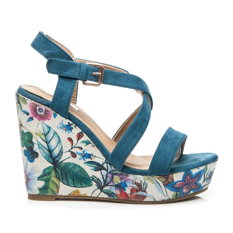 bf3f27ba5338 Dámske modré sandále na platforme s kvetinovým vzorom