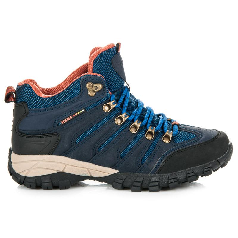 Dámske modré trekové topánky v športovom štýle  59faf4218db