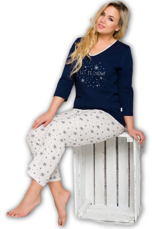 Dámske pyžamo Lena 293 blue-ecru