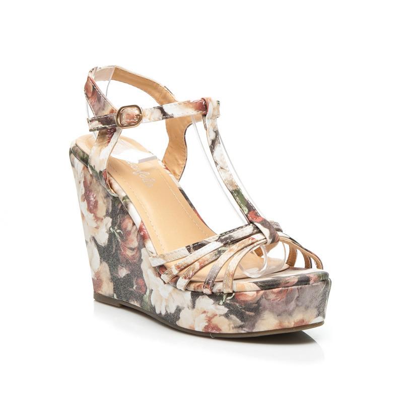 0ead58e2dcfb Dámske sivé sandále s kvetinovým vzorom