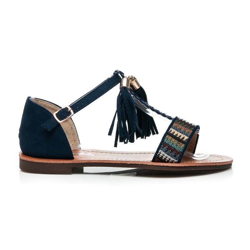 455bb158a70a1 Dámske štýlové modré sandále zdobené strapcami a indiánskymi vzormi ...