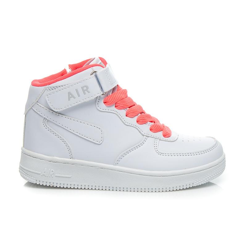 47ad167c0c2b Detské biele členkové tenisky na suchý zips a ružové šnurovanie ...