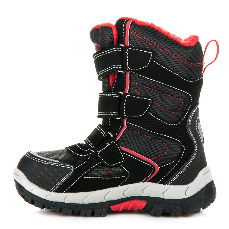 a738285939 Detské čierne zimné čižmy s červeným lemovaním