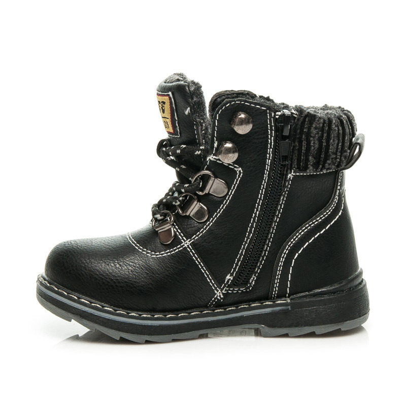 ee01371f05d6 ... Detské čierne zimné členkové topánky na šnurovanie
