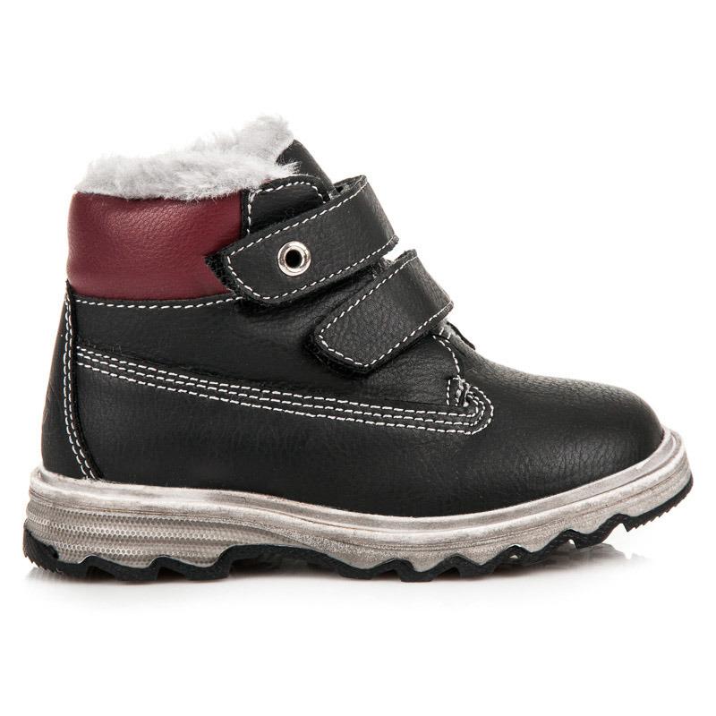 Detské čierne zimné členkové topánky na suchý zips  7034245065d