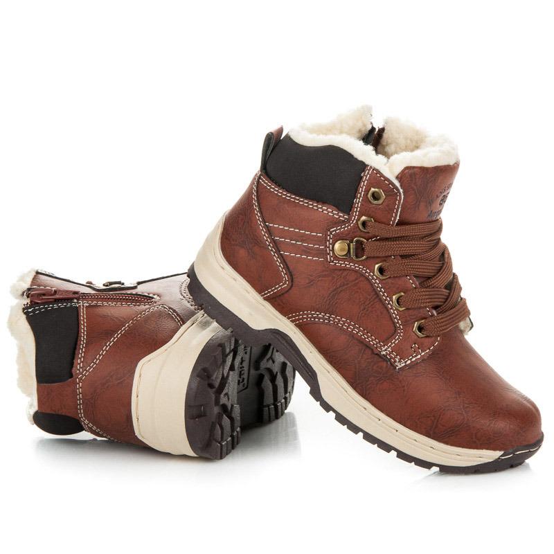 74b5b676d5bc Detské hnedé zimné trekové topánky