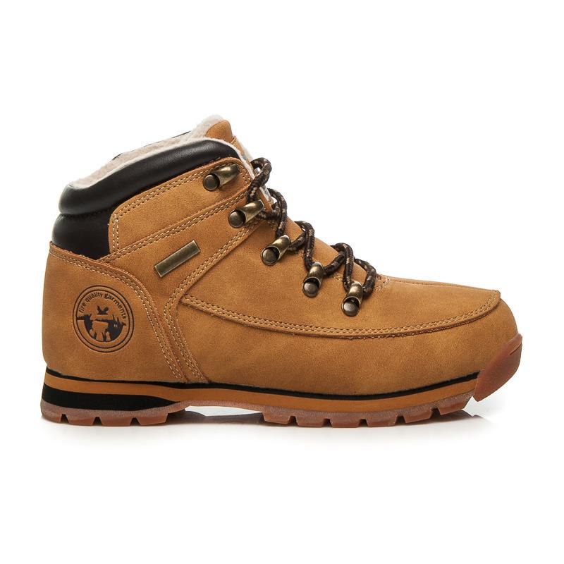 bb477bbf2773 Detské teplé hnedé členkové topánky na šnurovanie