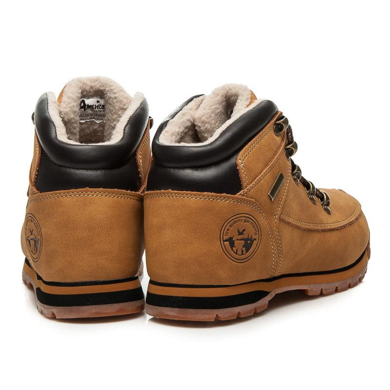 37c0b47ab2f0 ... Detské teplé hnedé členkové topánky na šnurovanie