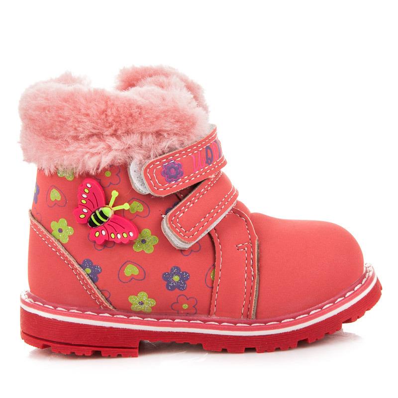 Detské zimné červené členkové topánky na suchý zips  daf8d1a6a58