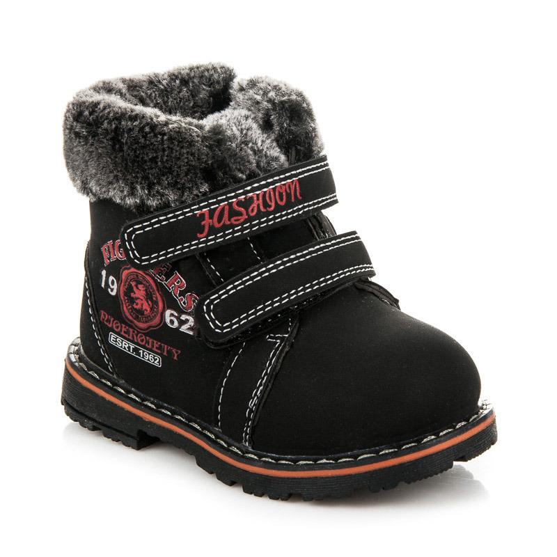 Detské zimné čierne členkové topánky na suchý zips  060db75535b
