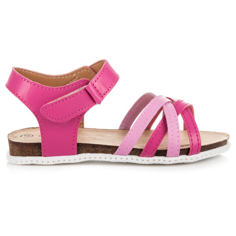 fb48aded5840 Dievčenské ružové sandále na suchý zips