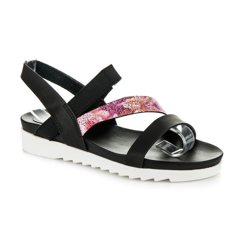 60335964df94 Dokonalé čierne sandále na hrubej bielej podrážke