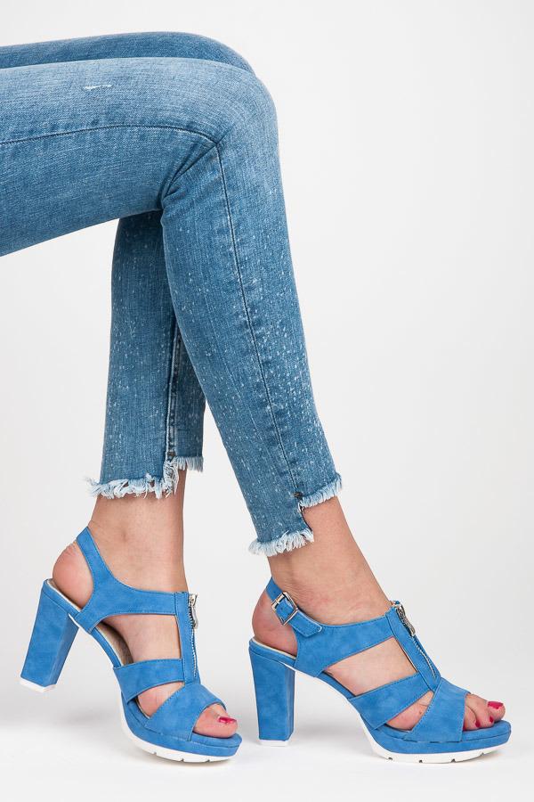 58219ccc0020 Dokonalé modré sandále s prackou na zips