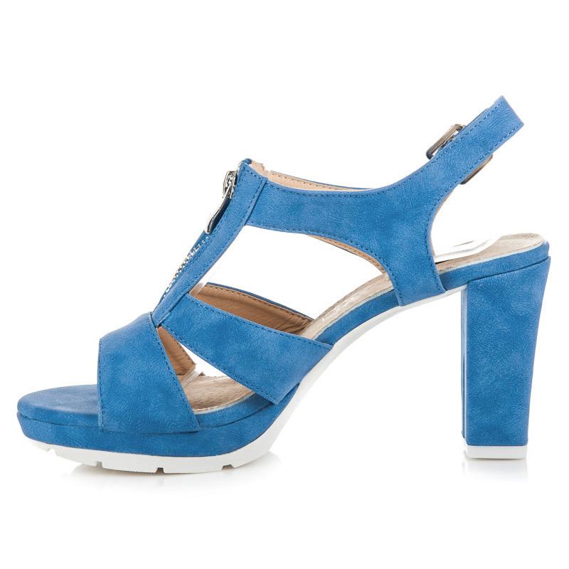 bbe67c84427e ... Dokonalé modré sandále s prackou na zips