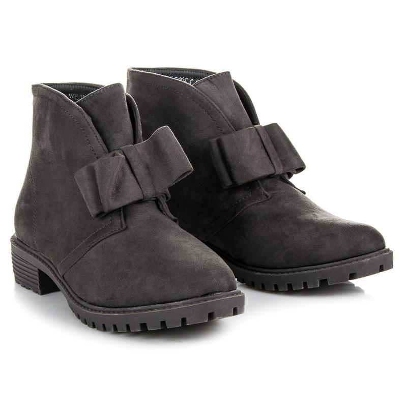 Dokonalé šedé členkové topánky s mašľou